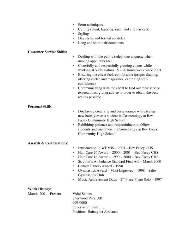 Hair Stylist Resume Examples. Resume Examples Beginners