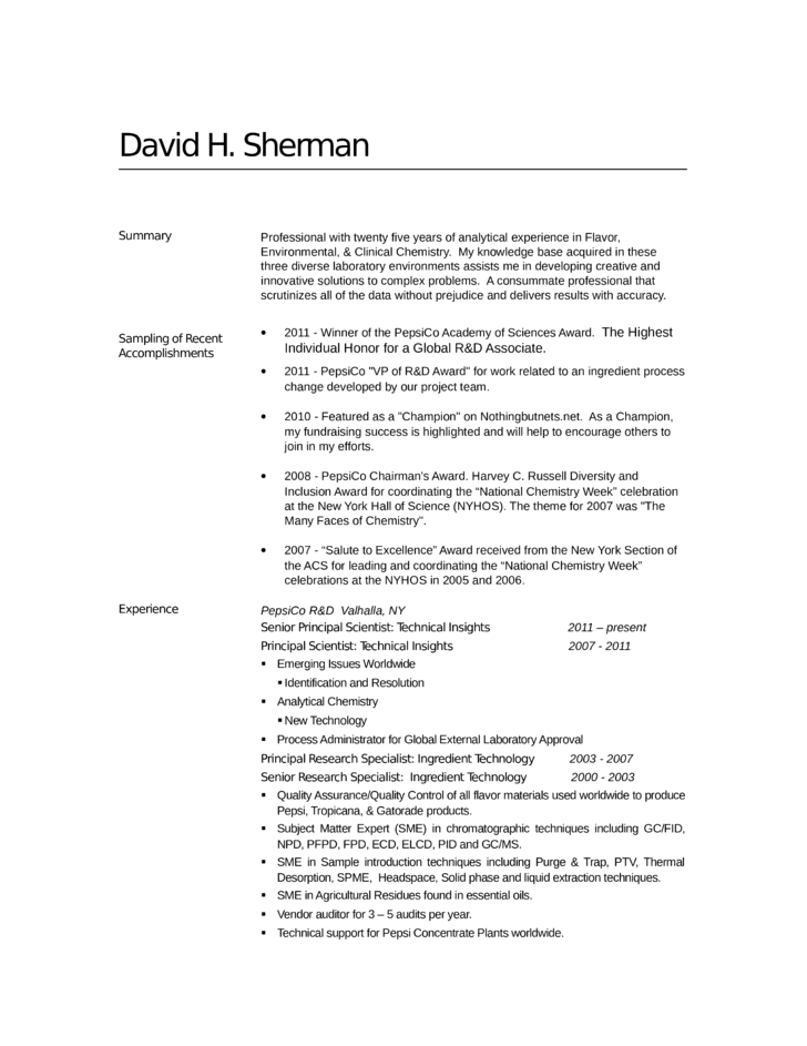 Chemist Resume Objective Examples. analytical chemist resume ...