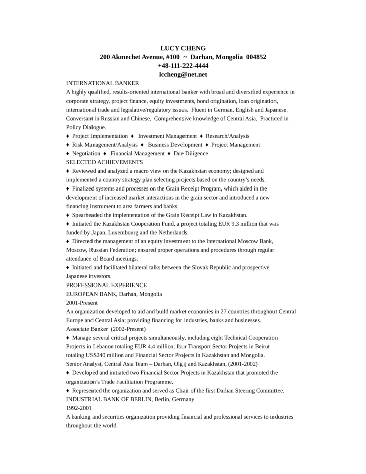 Resume Examples For Bankers. Banker Resume Example Sample Resume