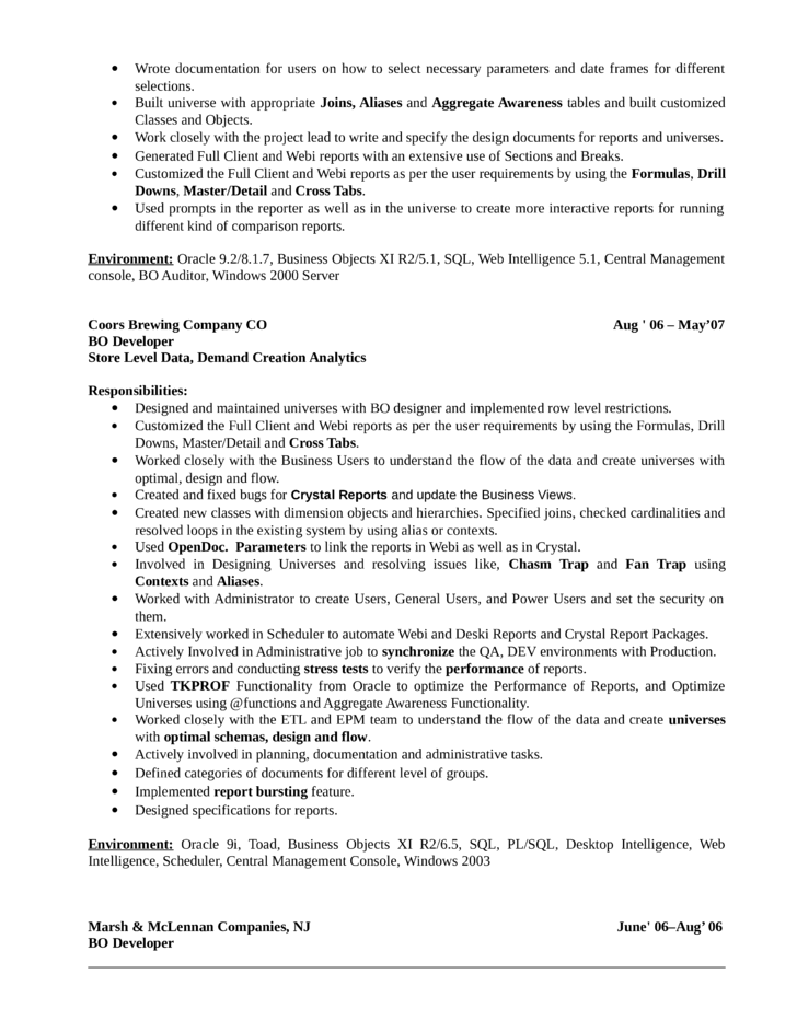 Sample Resume For Business Intelligence Consultant Cover Letter