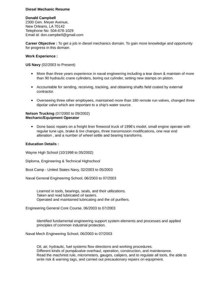 Mechanic Resume. Sample Automotive Technician Resume Mechanic