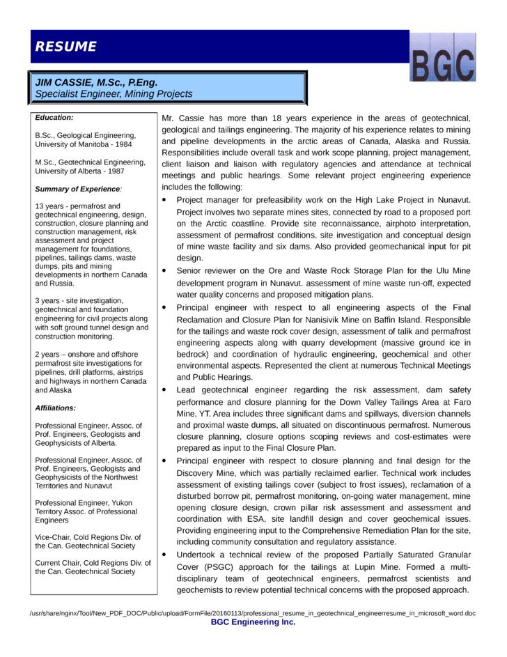 Geotechnical Engineer Resume. cover letter samples cover. carpenter ...