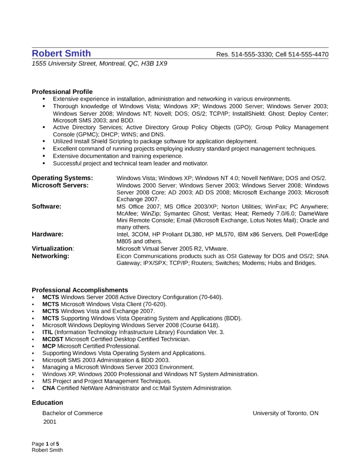 windows administrator resume sample administration. windows cv ...