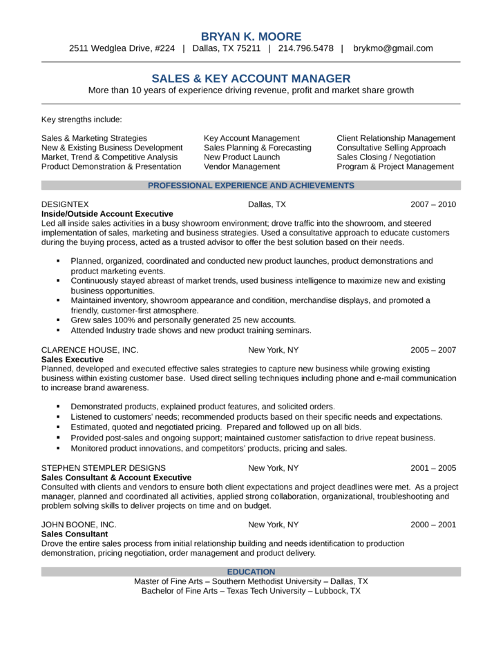 Resume For Account Manager Sales. Account Manager Cv Example 5