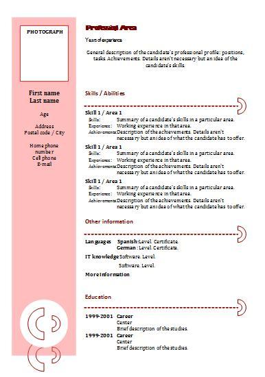 resume cv european format