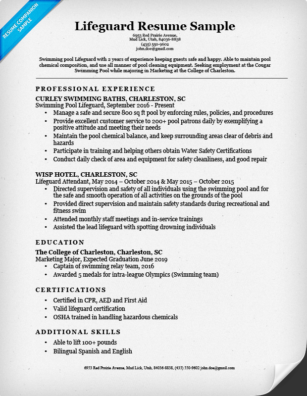 lifeguard resume sample amp writing tips resume companion