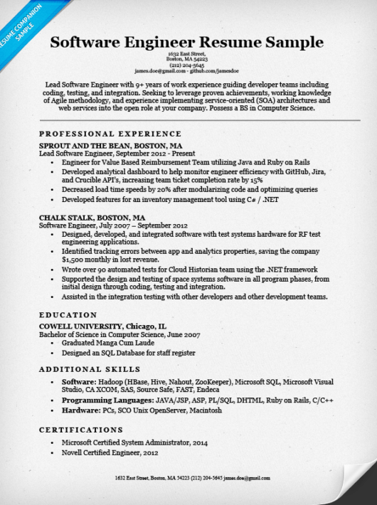 Engineer Resume Sample Writing Tips Companion  Software Developer Resume Example