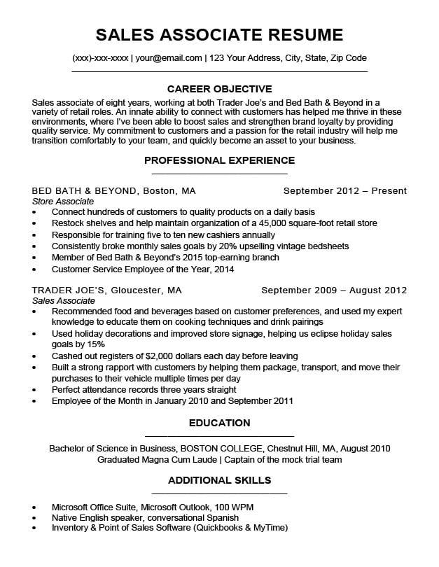 Sales Associate Resume Sample Writing Tips Resume Companion