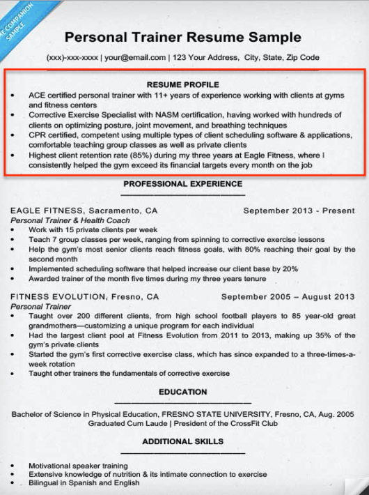 professional qualifications for resume resume sample - Resume Personal Trainer