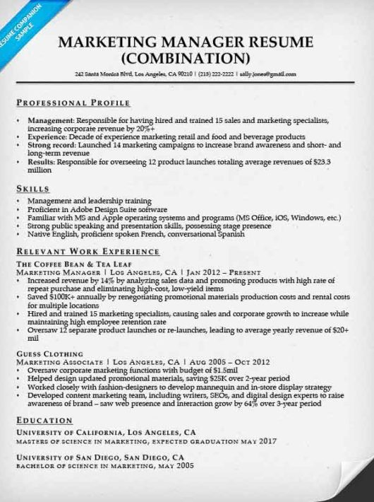 Marketing Manager Resume Sample Companion  Campaign Manager Resume