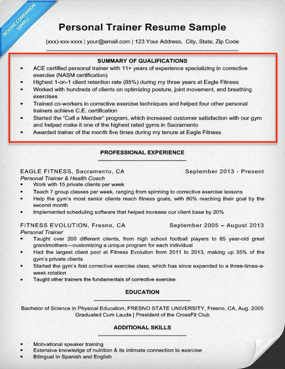Qualification For Resume Examples Resume Sample