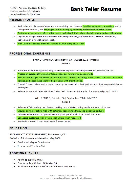 Resume For Bank Teller Resume Sample