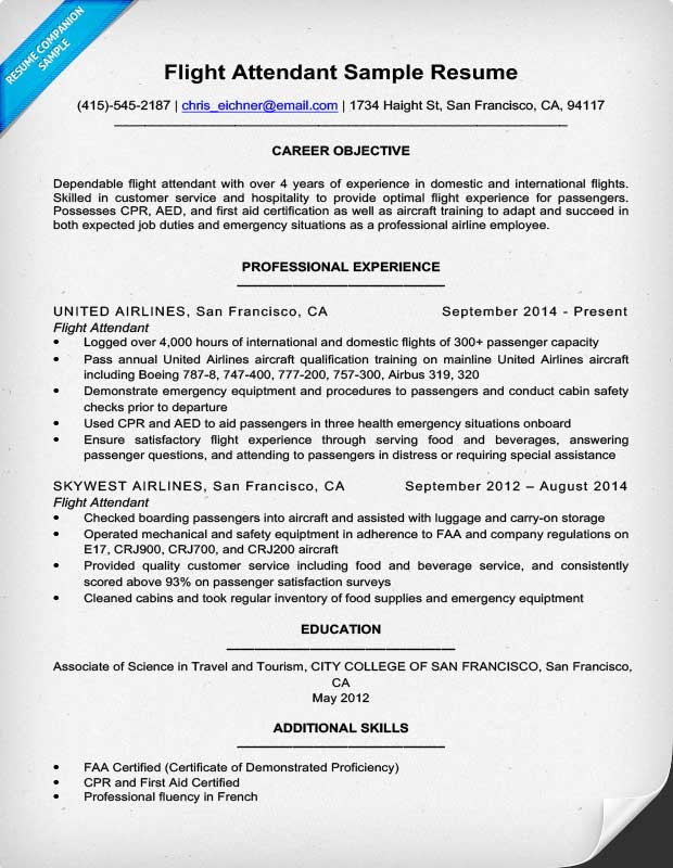 Flight Attendant Resume Sample Amp Writing Tips Resume Companion