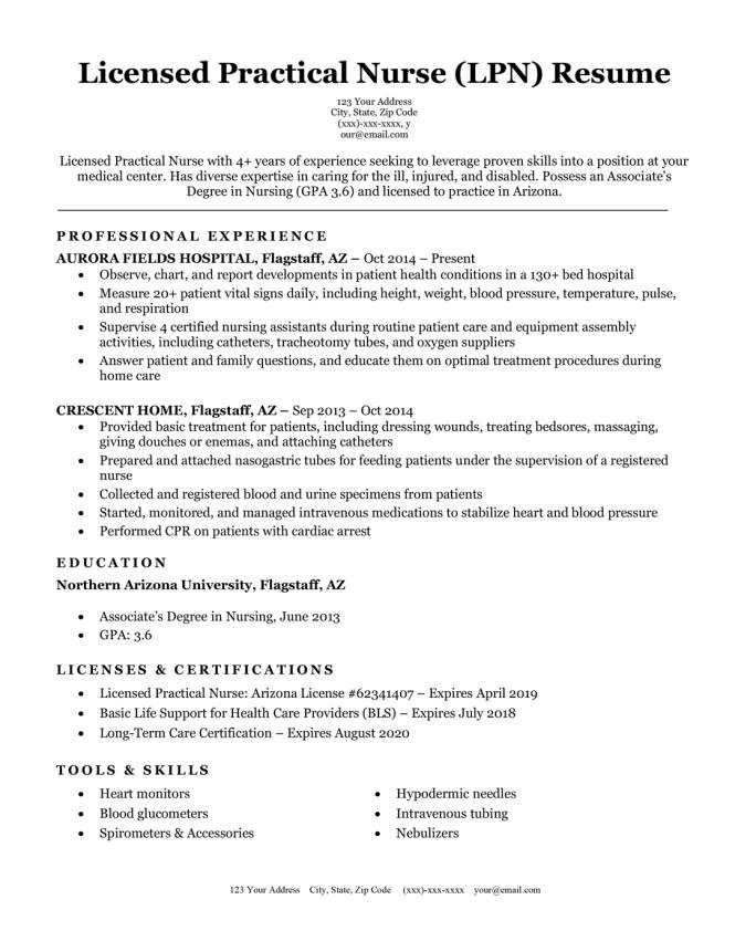 Licensed Practical Nurse Lpn Resume