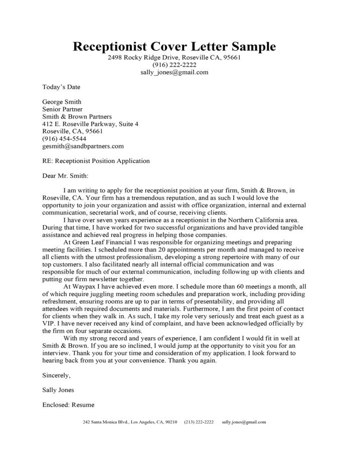 Receptionist Cover Letter Sample Resume Companion