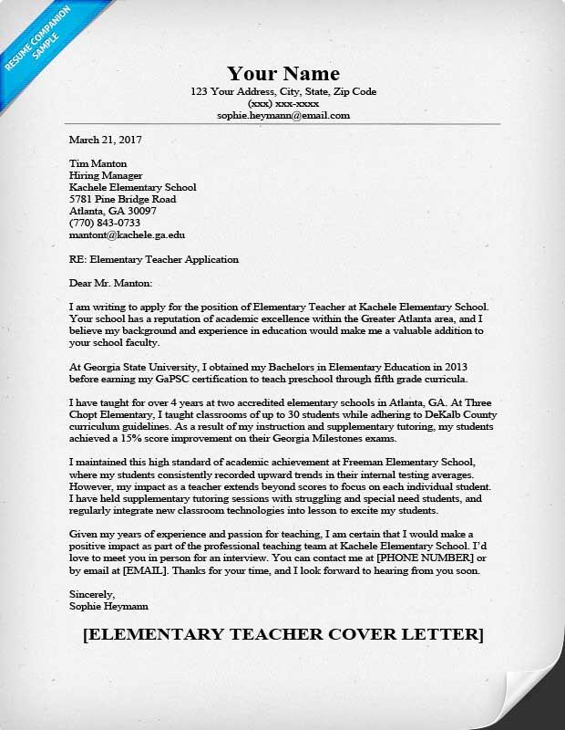 cover letters teachers