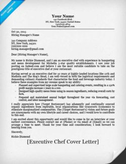 Cover Letter Chef Template Ice Pastry Sle