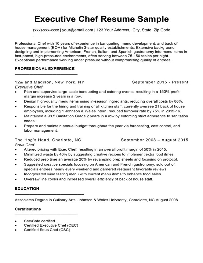 Able Chef Resume Samples
