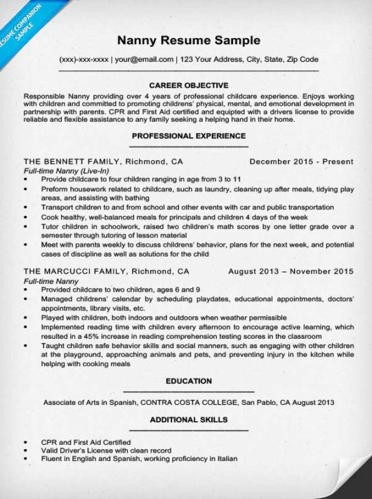 23 Cover Letter Template For Administration Throughout 17 Captivating Nanny Job Resume