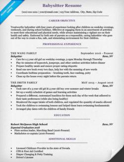 Babysitter Cover Letter Sample Tips Resume Companion  Babysitting Resume Sample