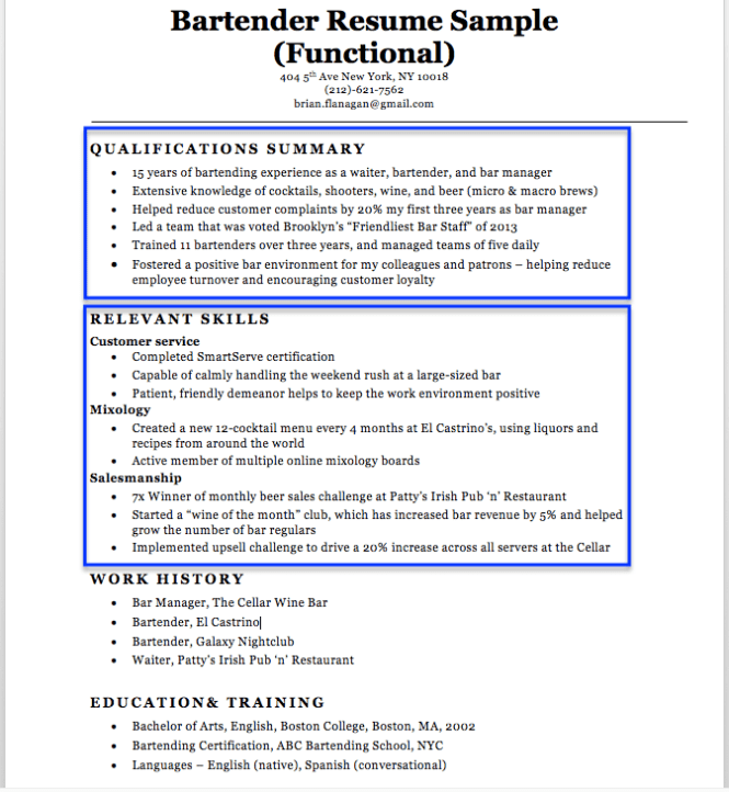 resume bar manager sample resume bartender unforgettable
