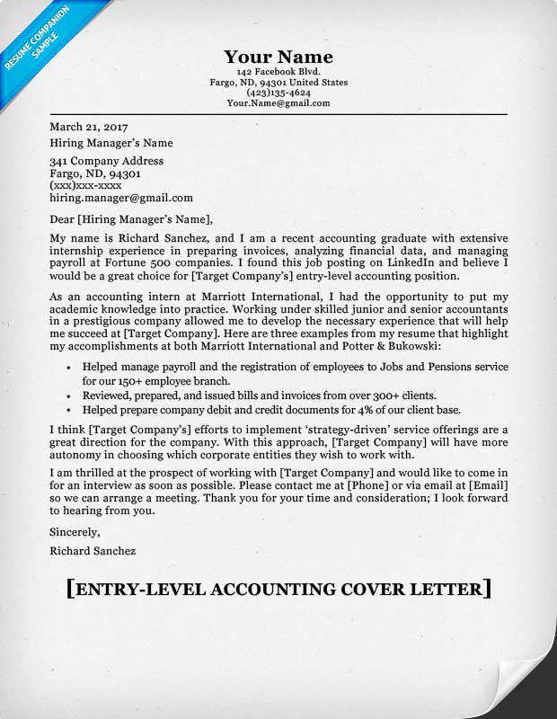 Elegant Cover Letters For Accounting Positions 80 Exle Letter Internship With