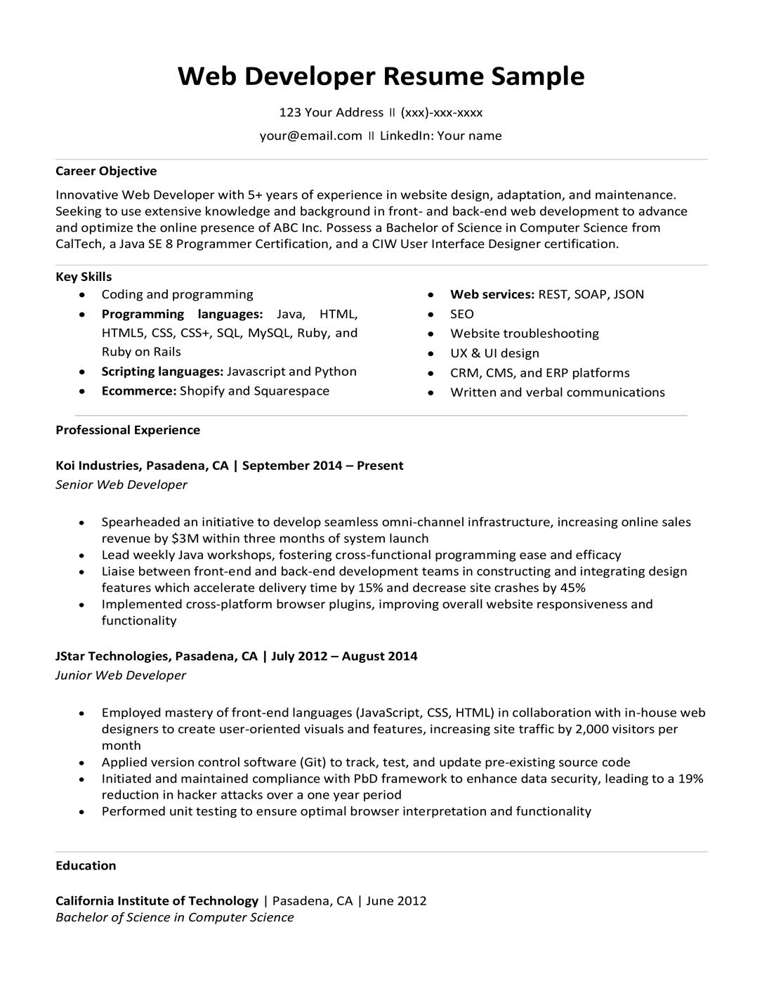 Web Developer Resume Sample Writing Tips Resume Companion