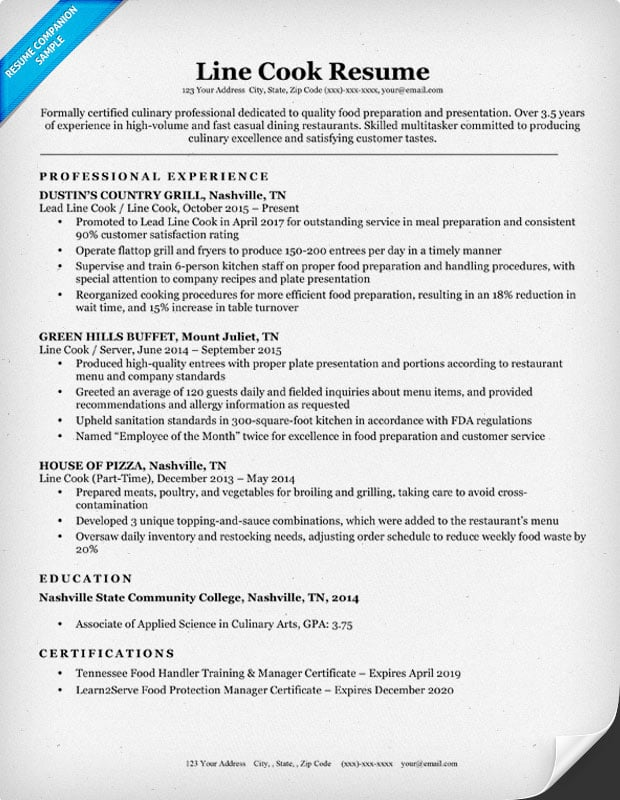 Line Cook Resume Examples Resume Sample