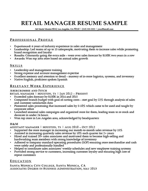 Retail Manager Resume Sample Writing Tips Resume Companion
