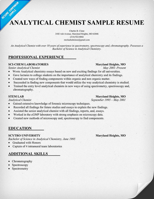 analytical chemist cv examples please help chromatography forum