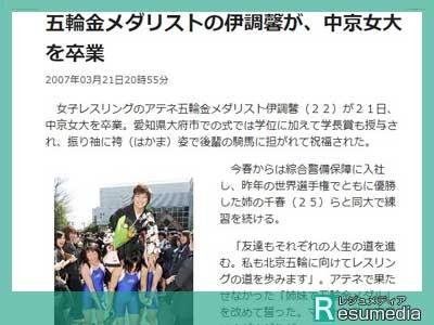 伊調馨 中京女子大学 卒業