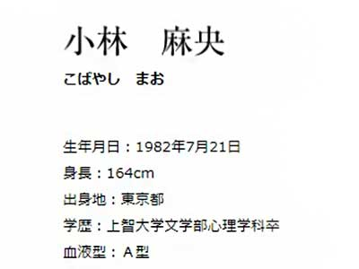 小林麻央 セントフォース プロフィール