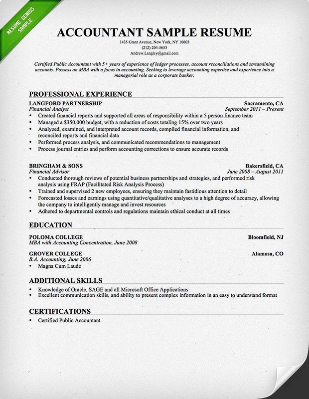 accountant resume sample good sample resume for freshers easy