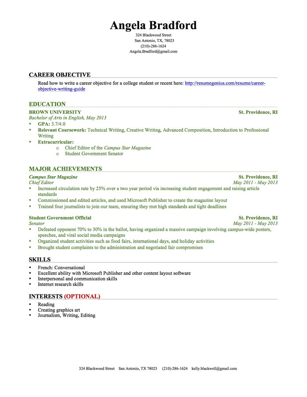 No Experience Resume Generator. First Job Resume For High School
