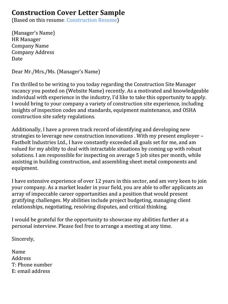 Construction Inspector Cover Letter claims representative cover ...