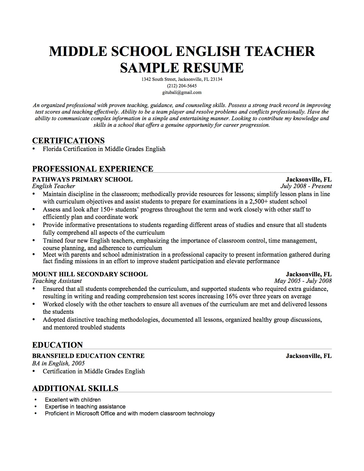resume chinese example