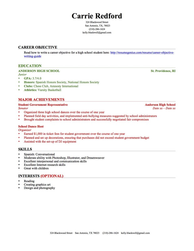 High School Student First Job Resume Template. Graduate Resume