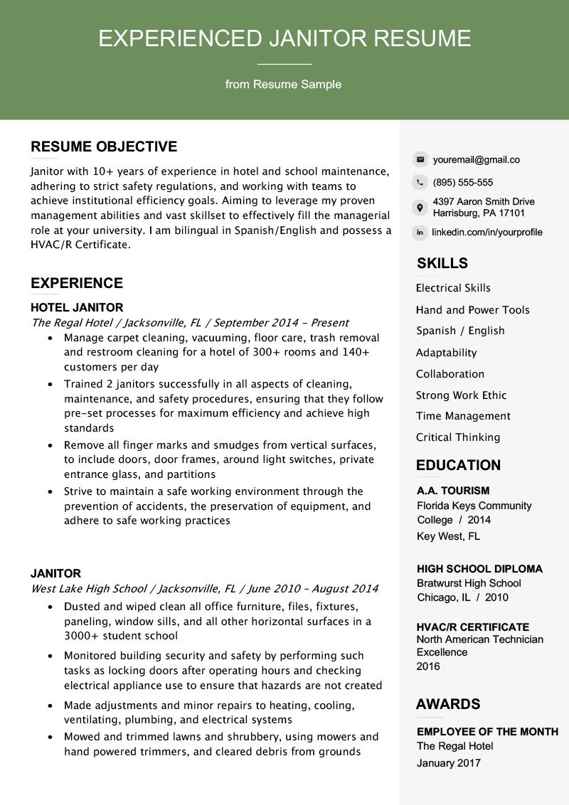 Professional Janitor Resume Sample Writing Tips Resume