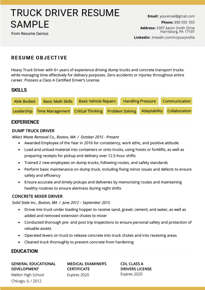 Truck Driver Resume Sample And Tips