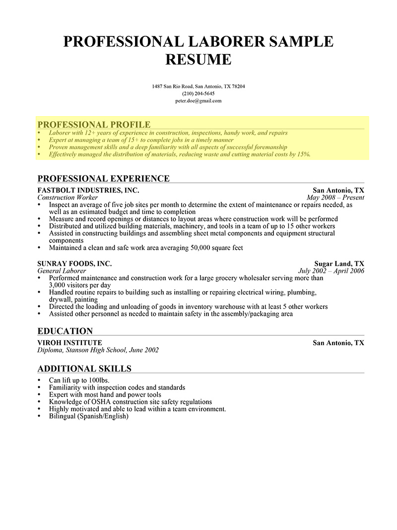 profile for teacher resume how to write a professional profile