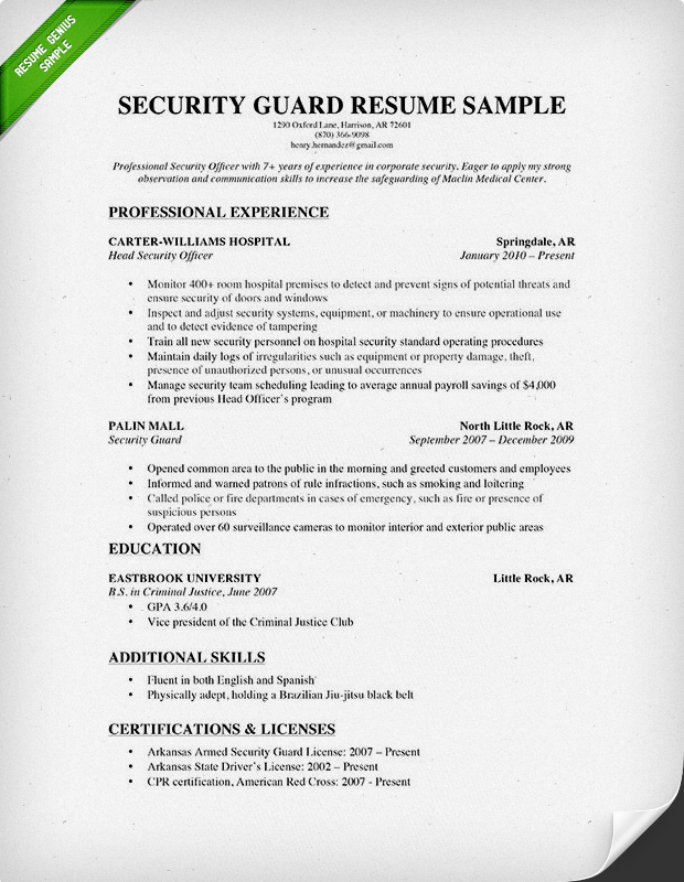 Security Guard Resume Sle No Experience Ideas For Job Lication 19