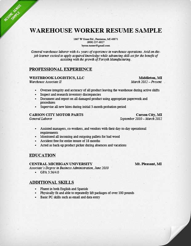 Warehouse Supervisor Resume Objective. Cover Letter Receiving
