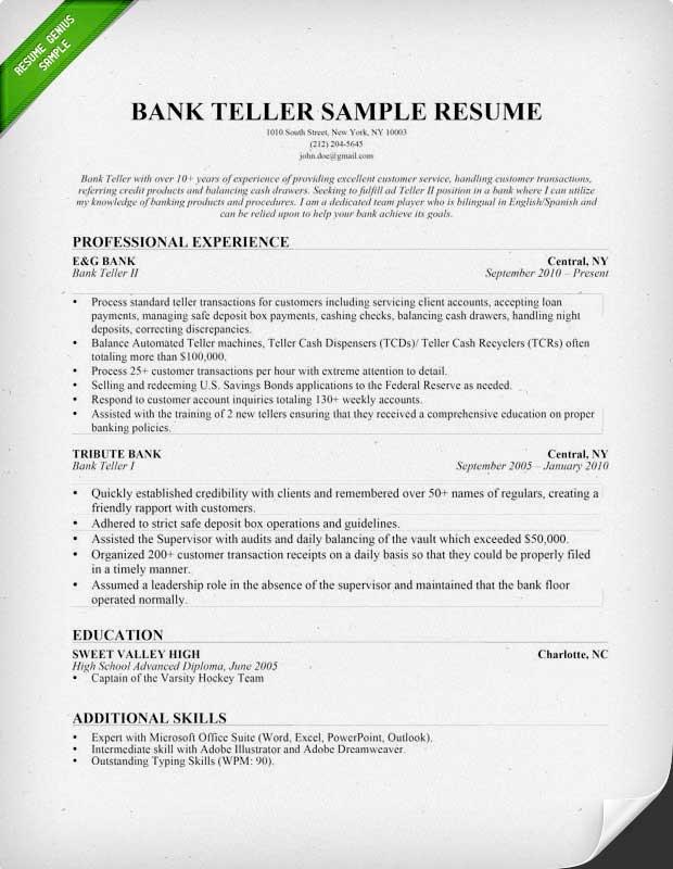 Cover Letter For Bank Teller | Cover Letter Sample Professional