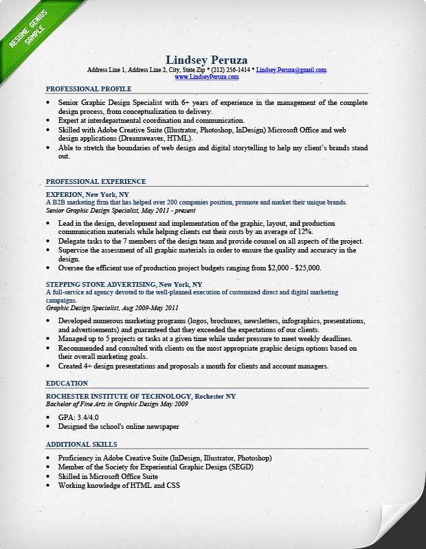 graphic design resume sample amp writing guide rg