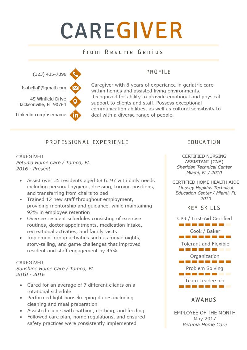 Caregiver Resume Example Writing Guide Resume Genius