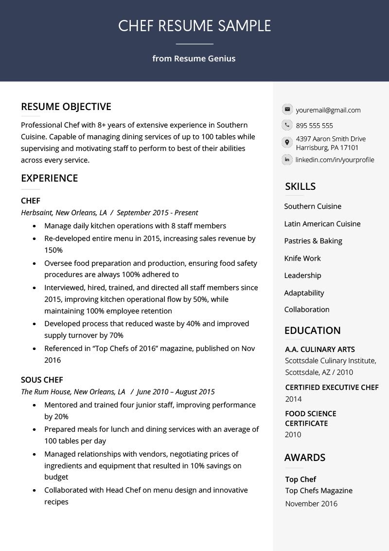 Chef Resume Sample Writing Guide Resume Genius