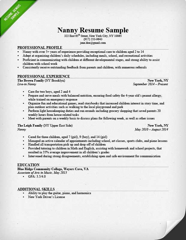 nanny resume sample amp writing guide resume genius