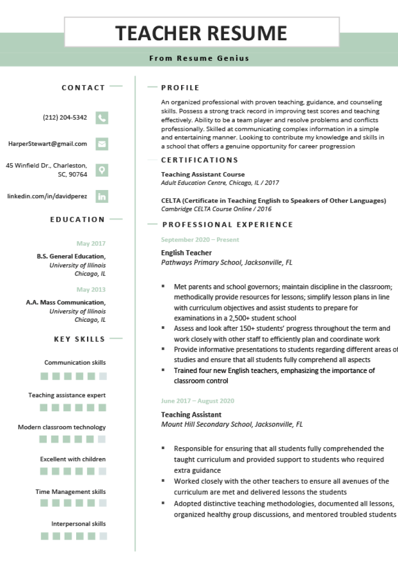 Education resume suitable for a teacher job-seeker.