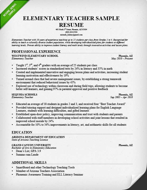 example of teacher resume elementary resume