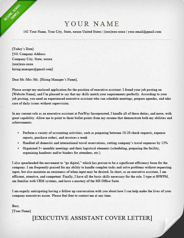 Executive Resume Cover Letter - Resume Sample